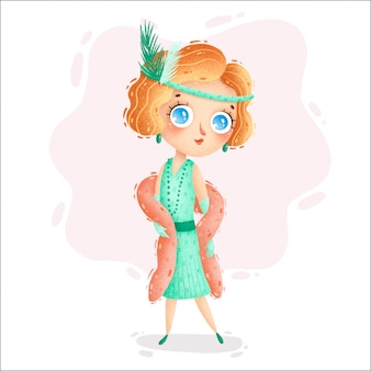 Cute cartoon 1920s girl in a mint dress with feathers on a white background