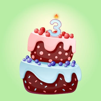 Cute cartoon 3 year birthday festive cake with candle number three. chocolate biscuit with berries, cherries and blueberries