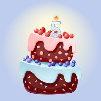 Cute cartoon 5 year birthday festive cake with candle number five