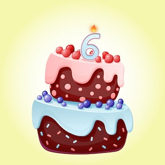 Cute cartoon 6 year birthday festive cake with candle number six. chocolate biscuit with berries, cherries and blueberries.