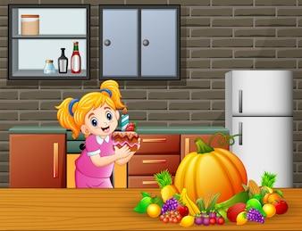 かわいい漫画、台所でケーキを持って女の子