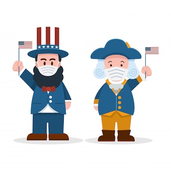 , cute cartoon abraham lincoln and george washington wearing face masks, president's day