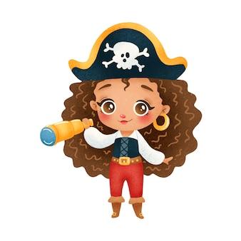 귀여운 만화 아프리카 계 미국인 해적 소녀 흰색 절연