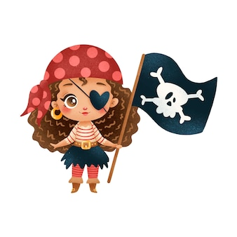 Cute cartoon african american pirate girl isolated on white