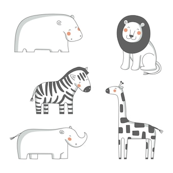 かわいい漫画アフリカ動物イラストセット