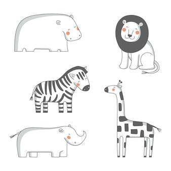 Cute cartoon african animals illustration set