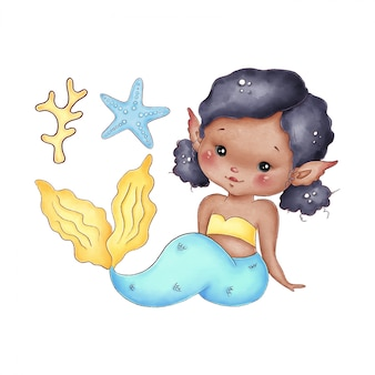 Cute cartoon african little mermaid with blue tail on a white background