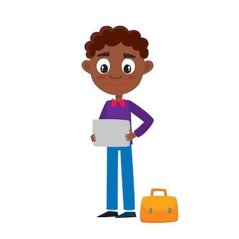 白で隔離のタブレットとかわいい漫画アフリカ人。幸せな立っている実業家