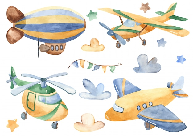 Cute cartoon air transport