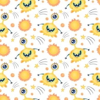 かわいい漫画のエイリアンのシームレスなパターン。 ufoパターン。かわいいモンスターのシームレスなパターン。