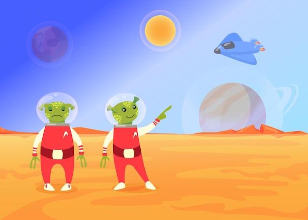 Cute cartoon aliens in space suit flat illustration