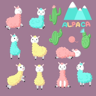 Cute cartoon alpaca icon set. vector hand drawn illustration of funny pink, yellow, blue llamas and cactuses for greeting card, invitation, baby shower card, poster, patch, sticker and print.