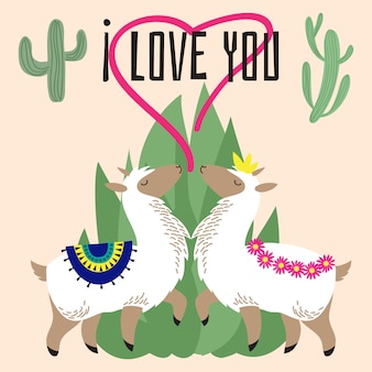 Cute cartoon alpaca in love - mexican lama card