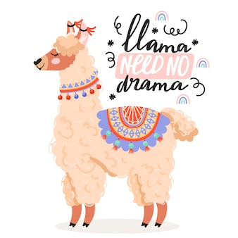 Cute cartoon alpaca.