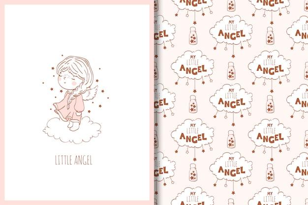 Cute cartoon angel hand drawn card and seamless pattern.