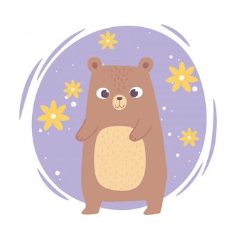Cute cartoon animal adorable wild character little bear with flwoers