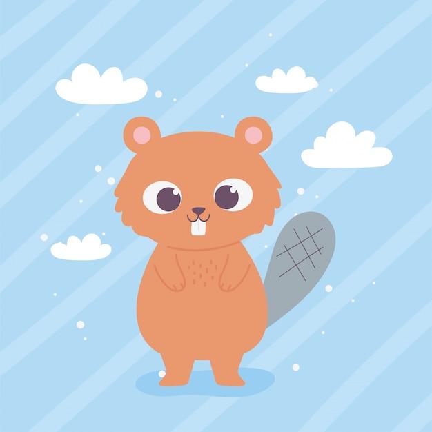 Милый мультфильм животных очаровательны дикий персонаж маленький бобр