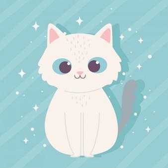 Милый мультфильм животных очаровательны дикий персонаж маленькая кошка сидит