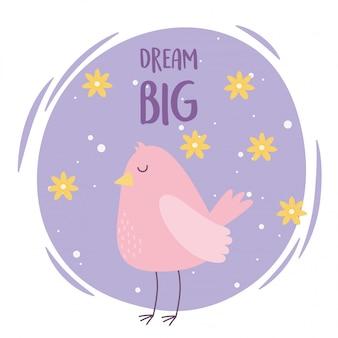 Милый мультфильм животных очаровательны дикий персонаж розовая птица с цветами