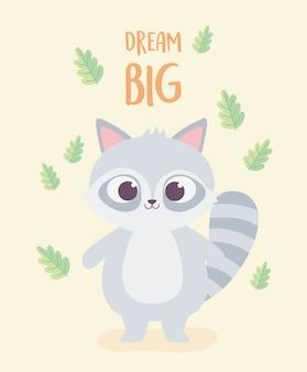 Милый мультфильм животных очаровательны дикий персонаж енота с листвой природы