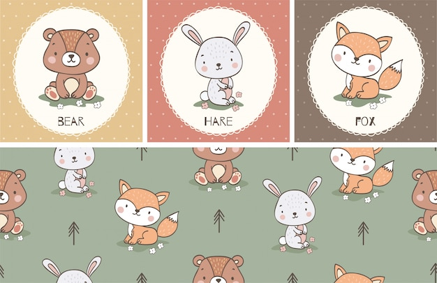 Cute cartoon animal card collection and seamless pattern set. hand drawn illustration.