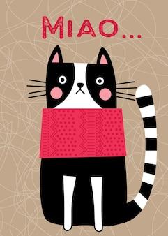Милый мультфильм животное кошка с шейным шарфом