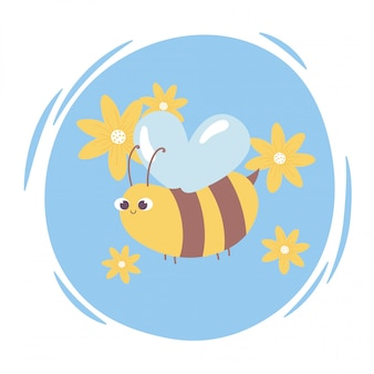 Милый мультфильм животное летящая пчела с цветами дикой