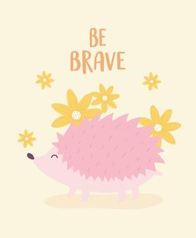 Милый мультфильм животное розовый маленький ежик с цветами