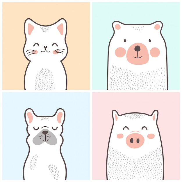 Cute cartoon animals: cat, bear, dog, pig