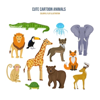 Cute cartoon animals concept illustration
