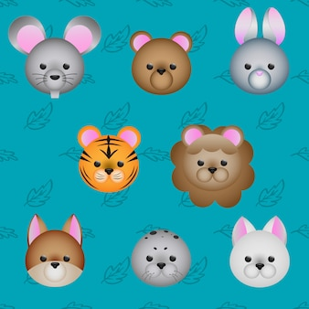Cute cartoon animals face icon set, vector illustration