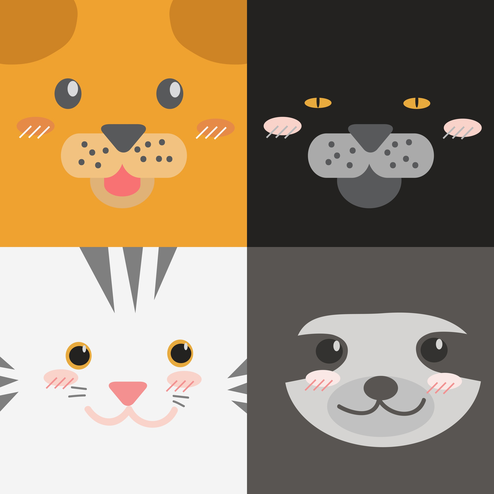 Cute cartoon animals faces collection square design style wallpaper