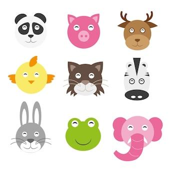 Cute cartoon animals head round shape. panda pig deer chicken cat zebra hare frog elephant
