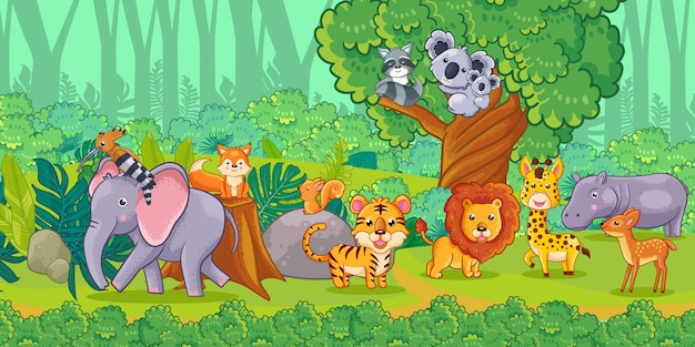 Cute cartoon animals in the jungle. set of animals.