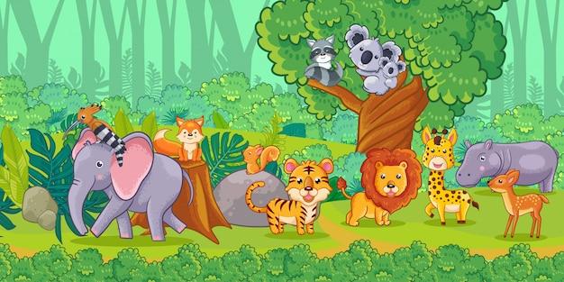 Cute cartoon animals in the jungle. set of animals.