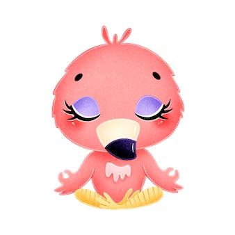 Cute cartoon animals meditate. flamingo meditation.