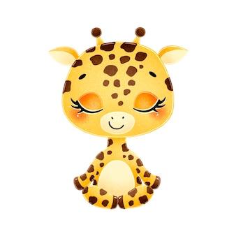 Cute cartoon animals meditate. giraffe meditation.