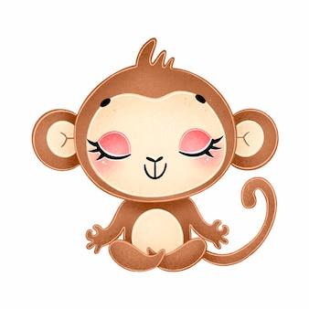 Cute cartoon animals meditate. monkey meditation.