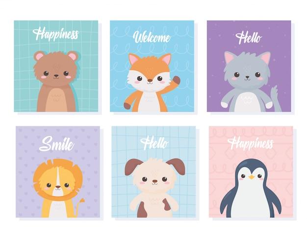 Cute cartoon animals portrait cards with bear cat lion dog penguin vector illustration