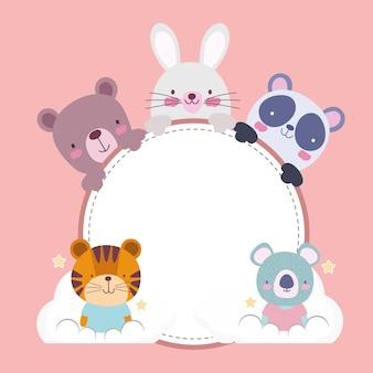 Милый мультфильм животных круглый баннер