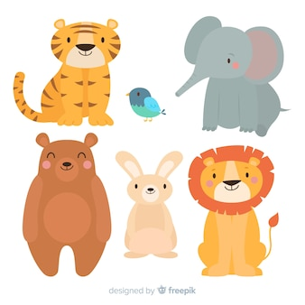 Cute cartoon animals set
