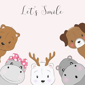 Cute cartoon animals smile