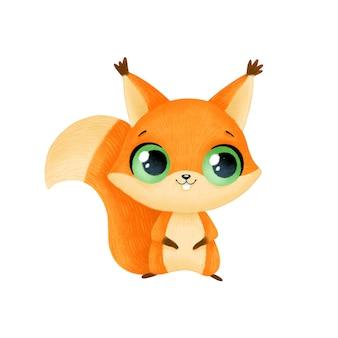 Cute cartoon animals. squirrel isolated