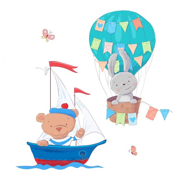 귀여운 만화 동물 운송 차량 배와 풍선