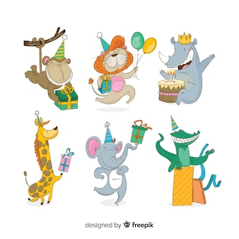 Cute cartoon animals with gifts