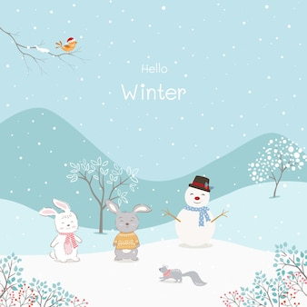 Cute cartoon animals with snowman happy on winter background,vector illustration