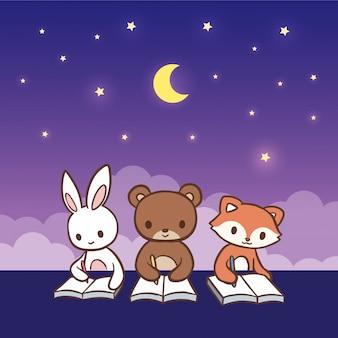 Cute cartoon animals writing