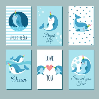 Cute cartoon anime narwhal romance cards