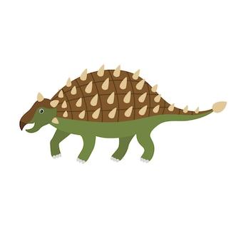 Cute cartoon ankylosaurus.