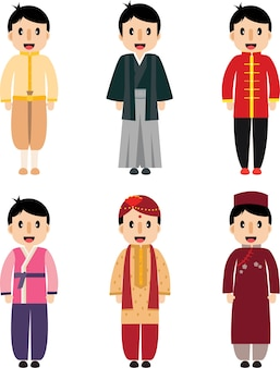 Cute cartoon asian boy dress difference nationality